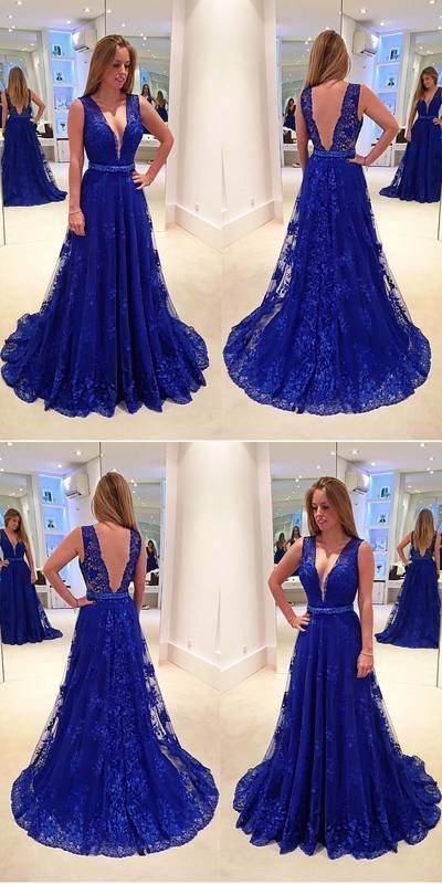 Blue V Neck Prom Dress , Lace Prom Dress M 222