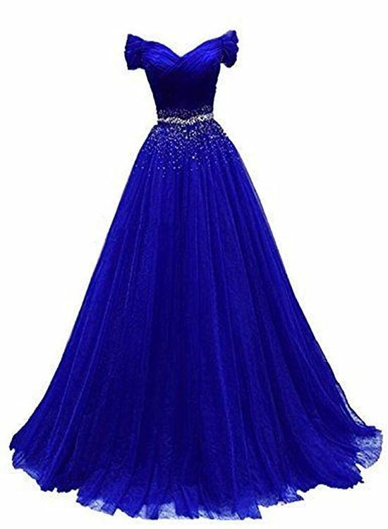 Royal Blue Beaded Long Party Gown, Off Shoulder Prom Dress  M 223