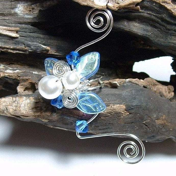 Fairy Wedding Ear Cuff - Sapphire and Ice