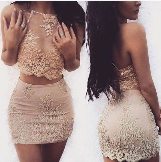 Sexy Appliques Two Piece Prom Dresses, Charming Short Homecoming Dresses M 231