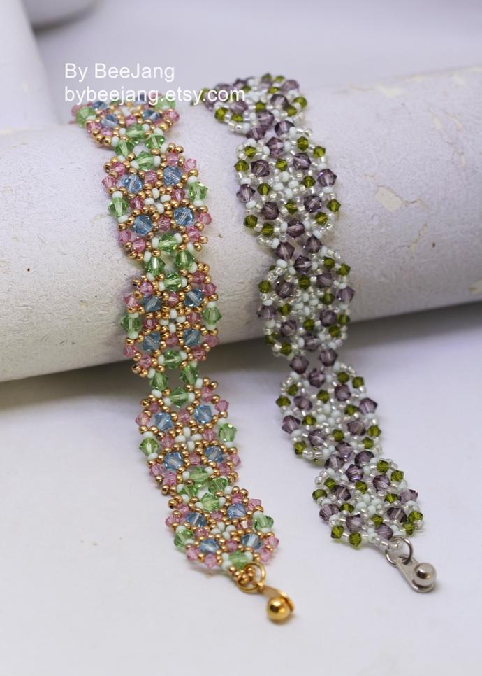 Beading Patterns - Leslia - Bracelet Tutorials - Digital Download - PDF
