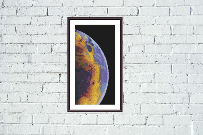 Blue planet cross stitch pattern Galaxy cosmos universe embroidery design
