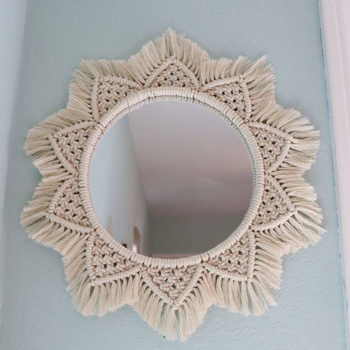 Boho Macrame Mandala Fringe Round Mirror | Medium Large Sizes | Handmade Woven