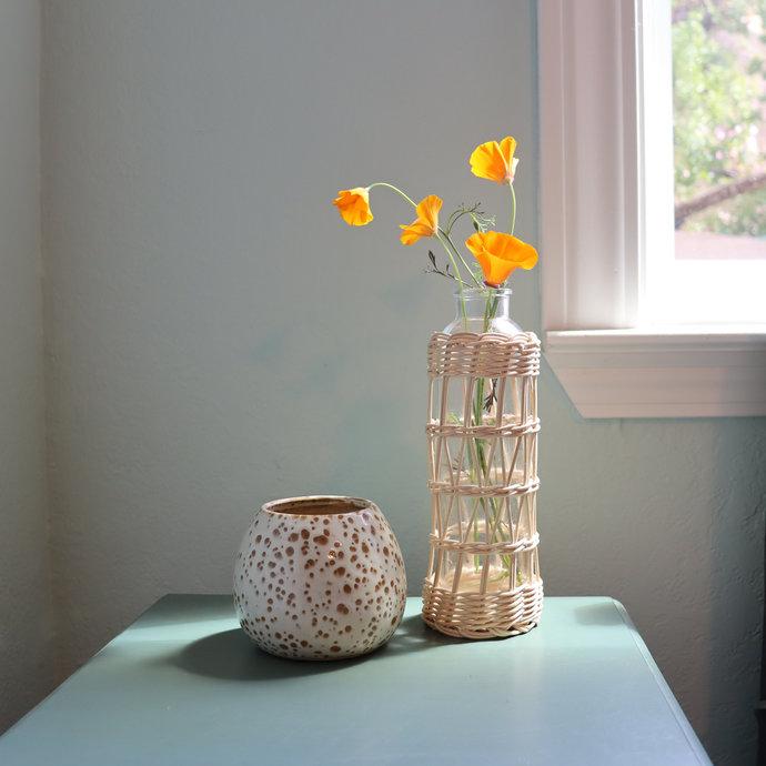 Rattan Flower Vase | Wicker Woven Glass Bud Vase | Natural Boho Style | Bohemian