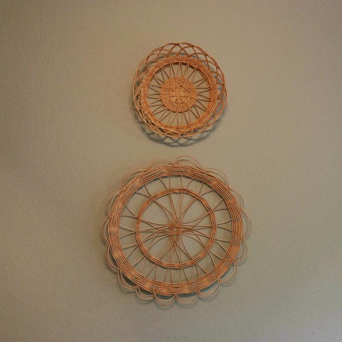 Handmade Rattan Wall Basket Set of Two (2) | Woven Wicker Basket Set |