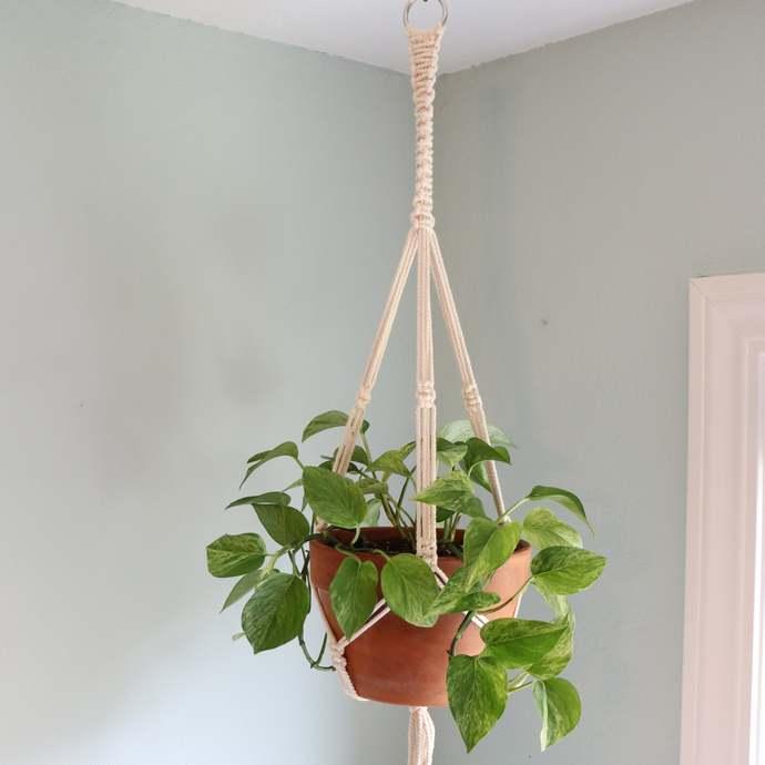 Macrame Minimalist Plant Hanger   Medium White Cotton Pot Holder   Boho Chic