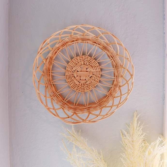 Handmade Rattan Wicker Boho Wall Basket | Decorative Sunburst Round Bowl |