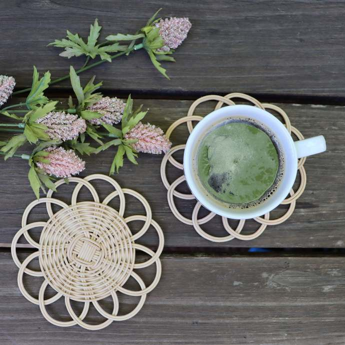 Rattan Coffee Tea Coaster Set | Decorative Round Sunflower Shape | Handmade