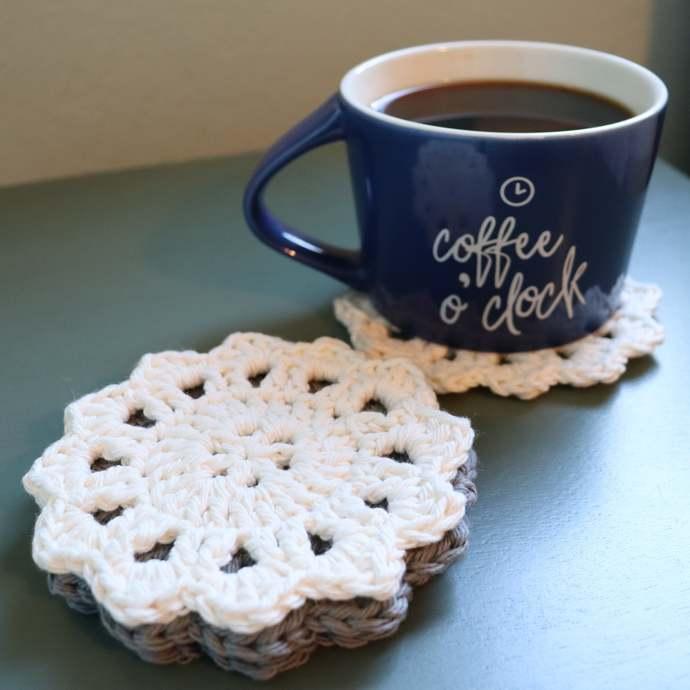 Crochet Round Coffee Tea Coaster Set | Cotton Material | Handmade Home Gift |