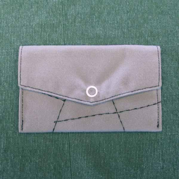 Gray Embroidered Pocket Purse