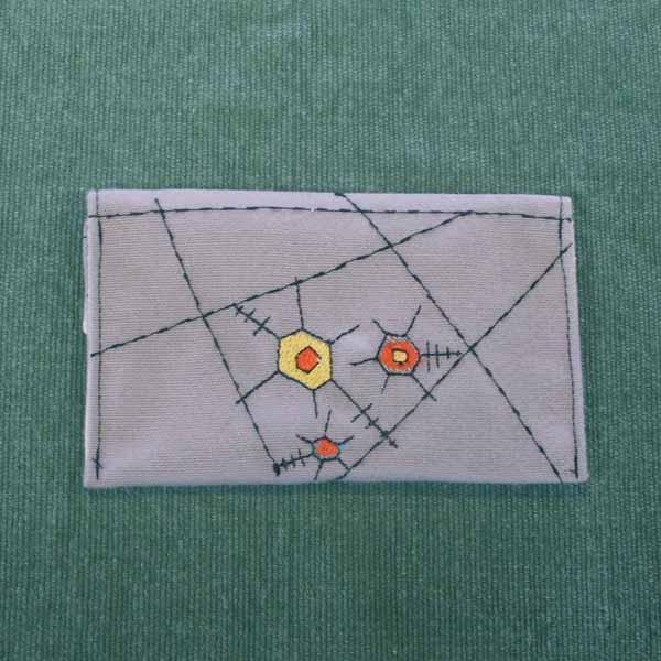 Fanciful Gray Embroidered Pocket Purse
