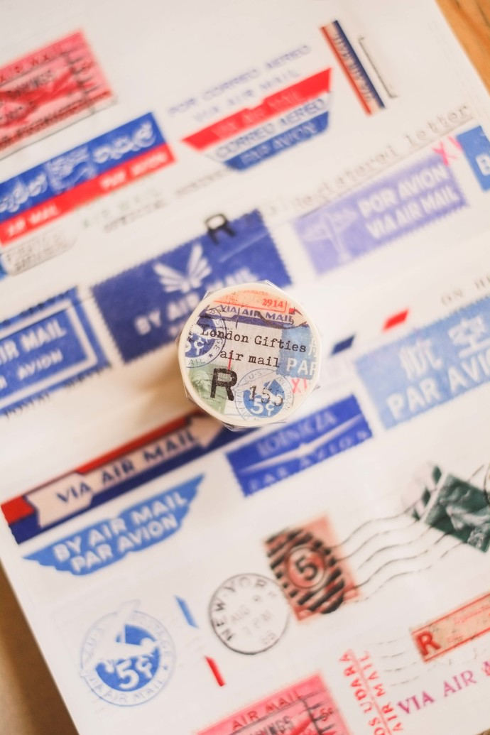 London Gifties watercolour tape - Air Mail - 4 cm wide Japanese washi tape