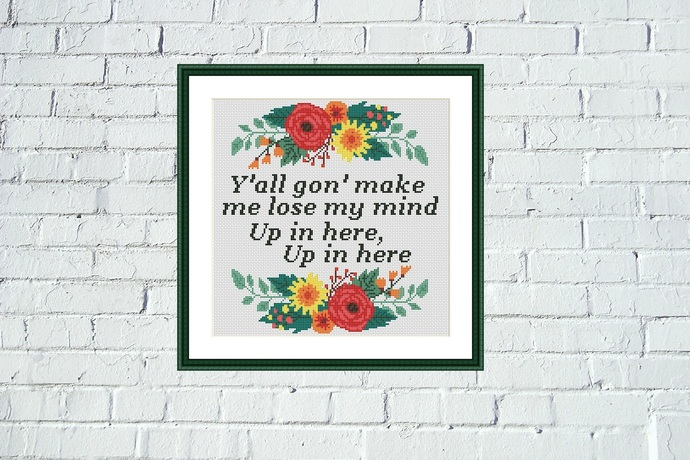 DMX - Up In Here Lyrics cross stitch pattern Music funny quote embroidery design