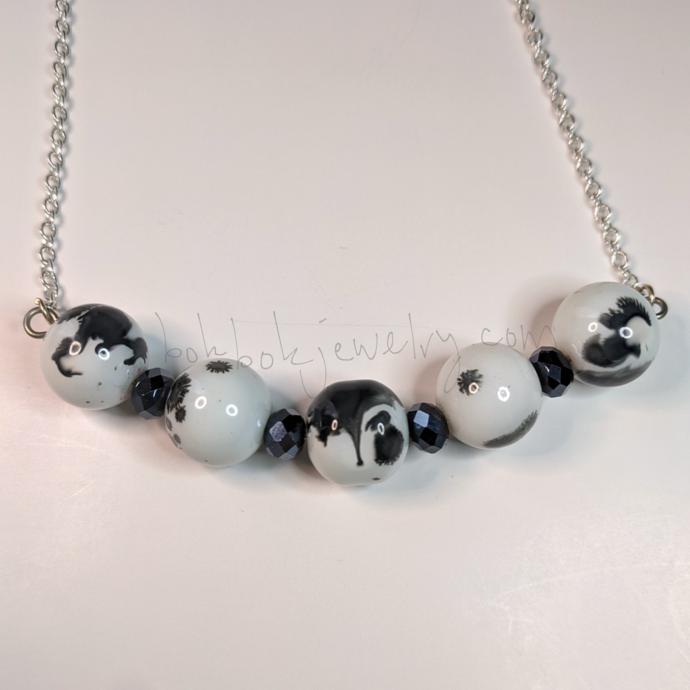 "Handmade Ceramic ""Cow Print"" Beaded Chain Necklace"