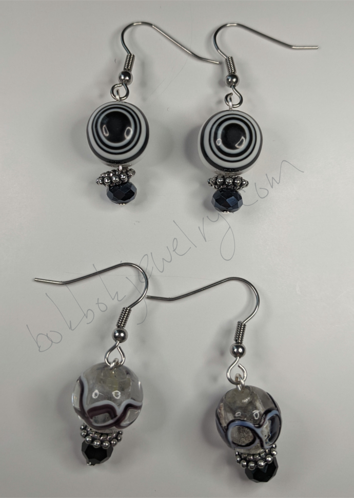 Handmade Black and White Glass Earrings