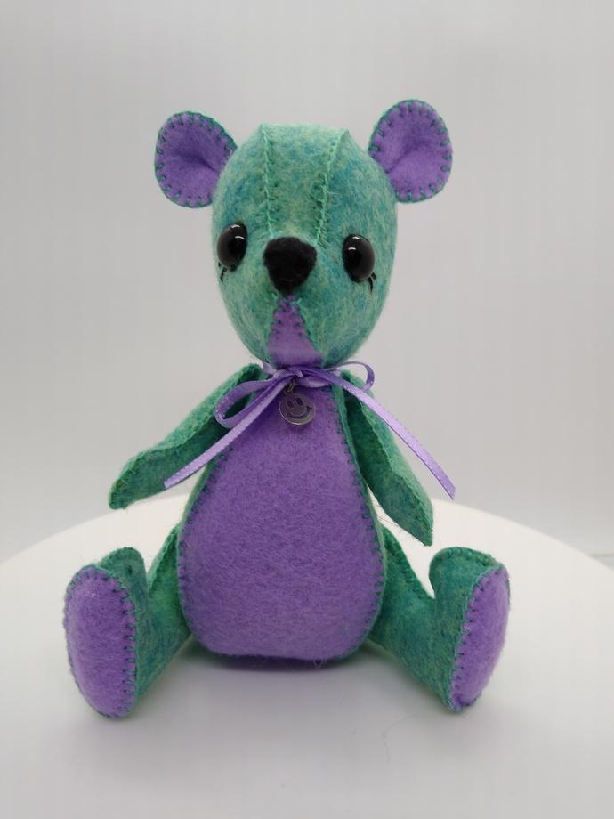 Hand Sewn Felt Bear- seafoam green and lavender