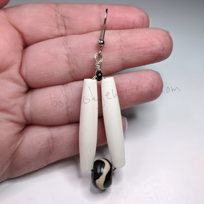 Handmade Long Dangly Bone Earrings