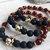 GANESHA - Golden Elephant Stretch Bead Bracelet with Red Quartz and Lava Beads