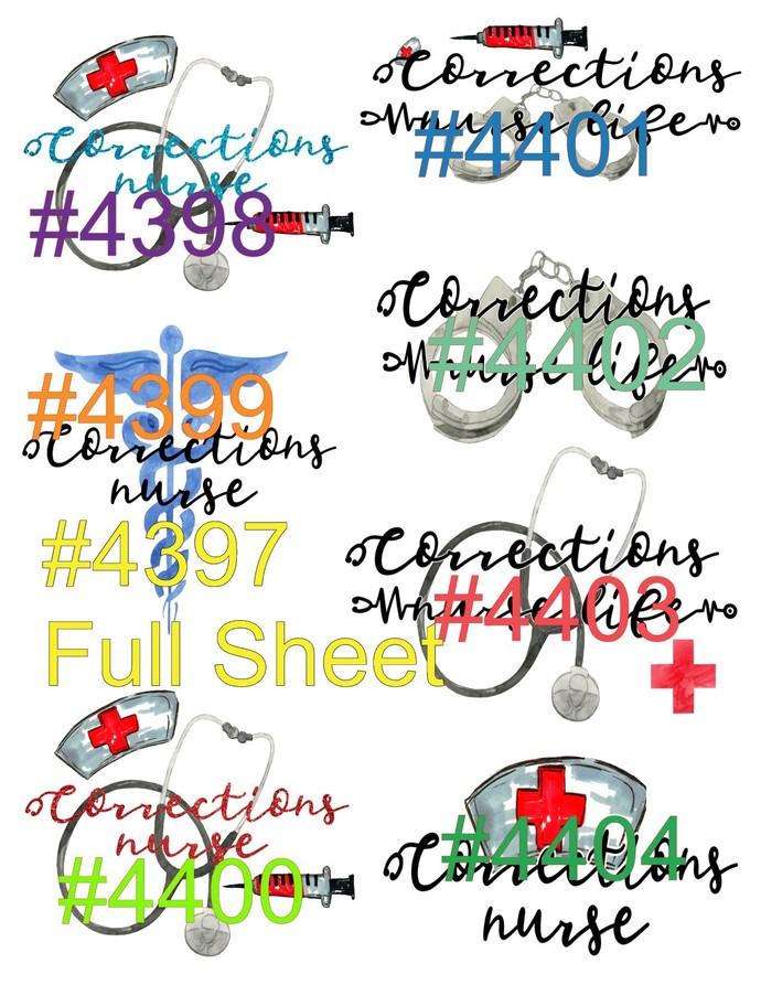 "Waterslides #Corrertional Nurse"" #4497-#4404 Laser Printed"