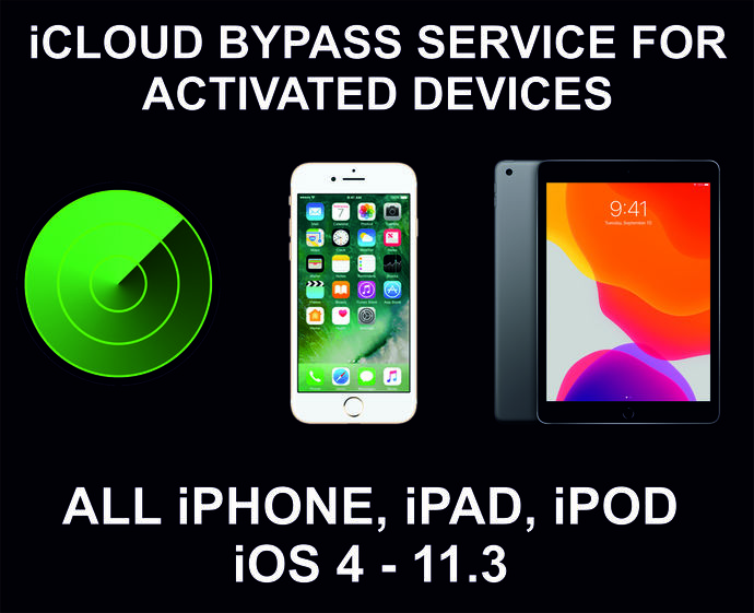 iCloud Bypass, Unlock, Remove Service, iPhone and iPad All Models With Menu