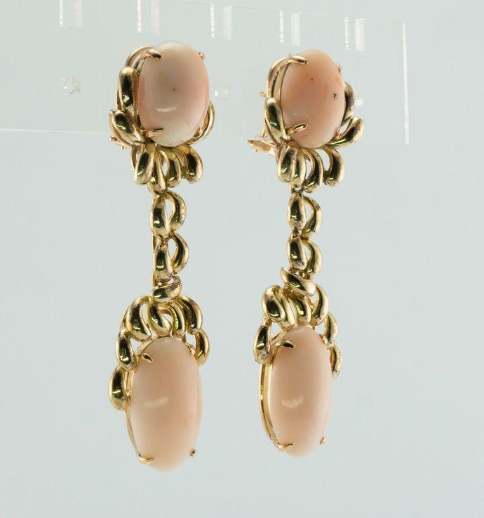 Angel Skin Coral Earrings Dangle 14K Gold Estate