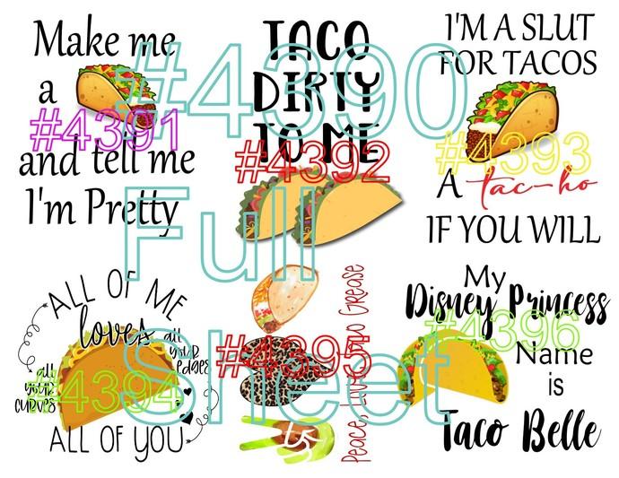 "Waterslides ""Taco Taco"" #4390-#4396 Laser peinted"