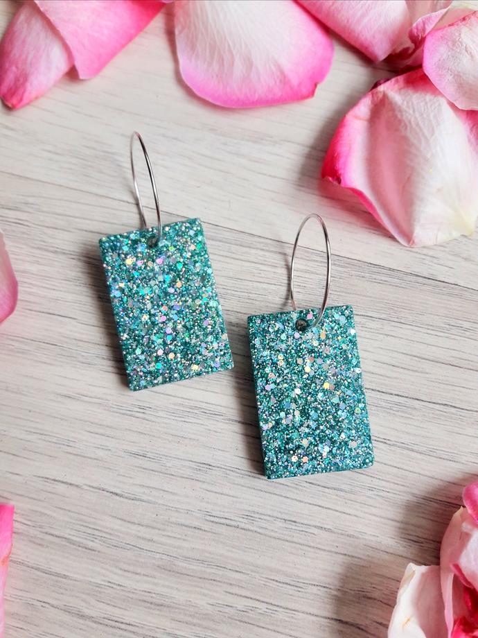 Glittered Resin Handmade Earrings, shiny earrings for women , gift for her ,