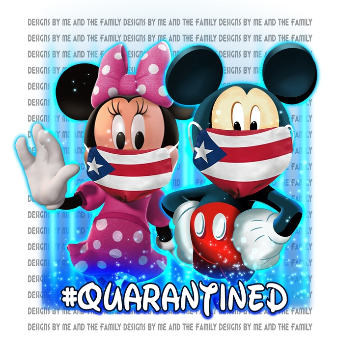 Mickey and Minnie Quarantined Puerto Rico Flag face mask, #quarantined, Best Day