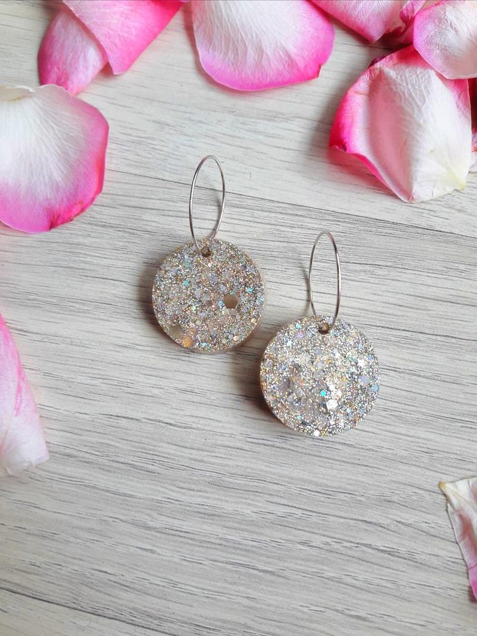 Grey Glittered Resin Handmade Earrings, shiny earrings for women , gift for her