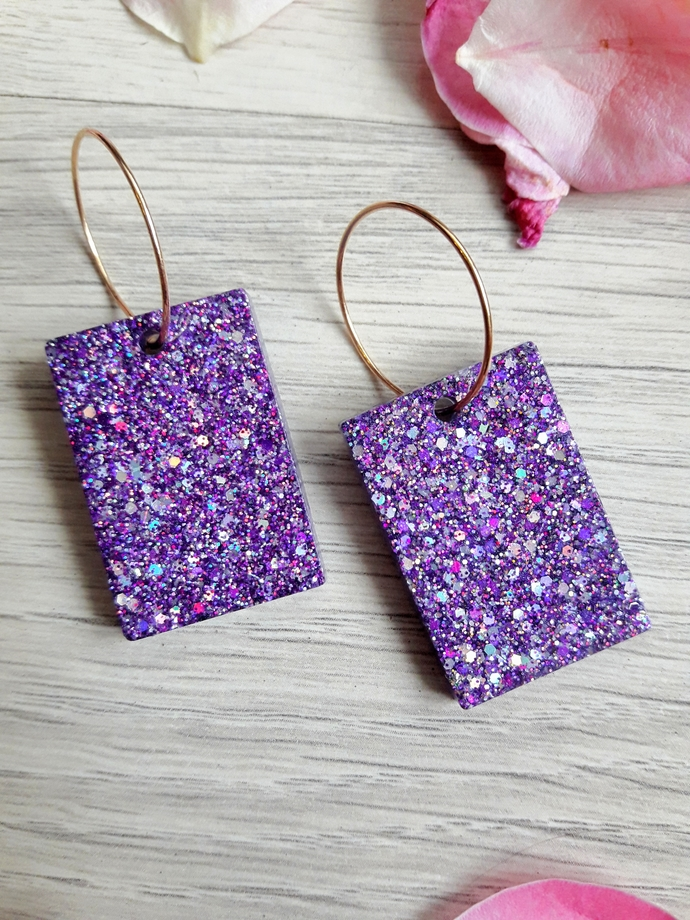 Glittered Resin Handmade Earrings, shiny earrings for women , gift for her ,