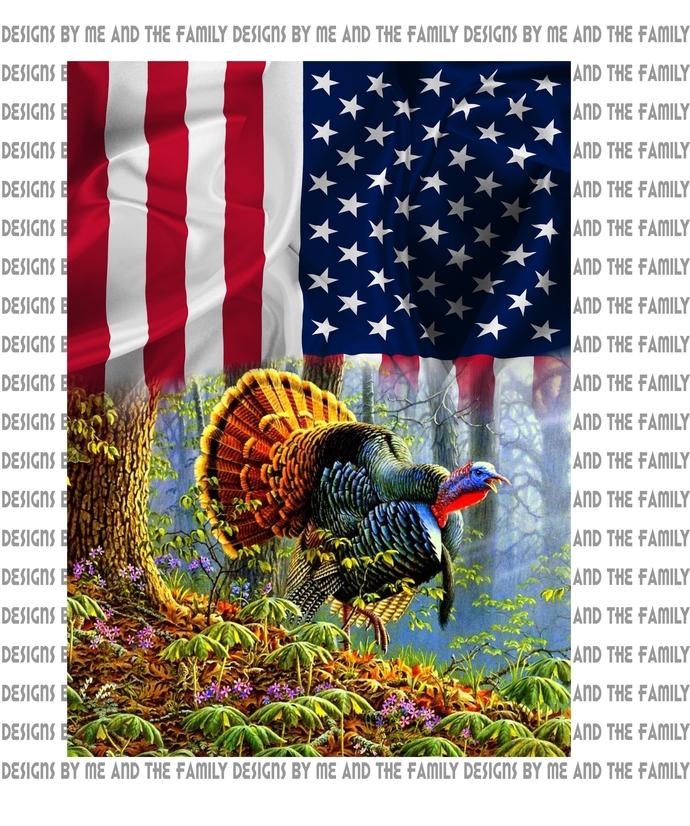 American Flag, Fall Turkey wood scene, Turkey Hunting, Turkey hunter, Father and