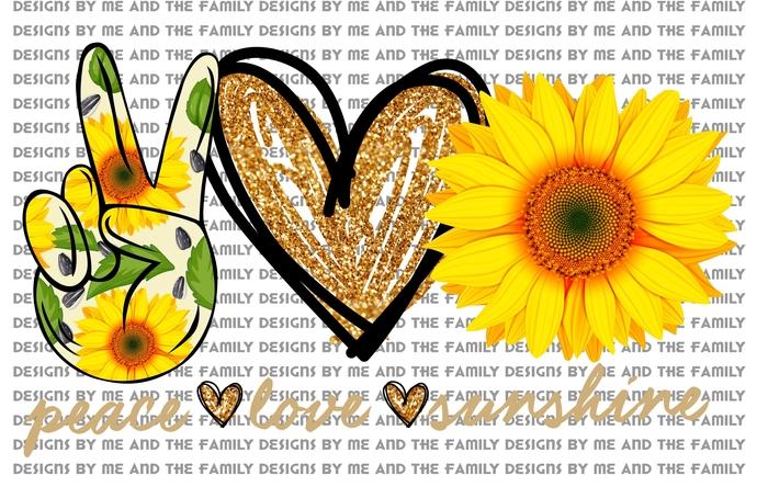Peace love sunshine, glitter heart, Peace love sunflowers, Mother's Day,