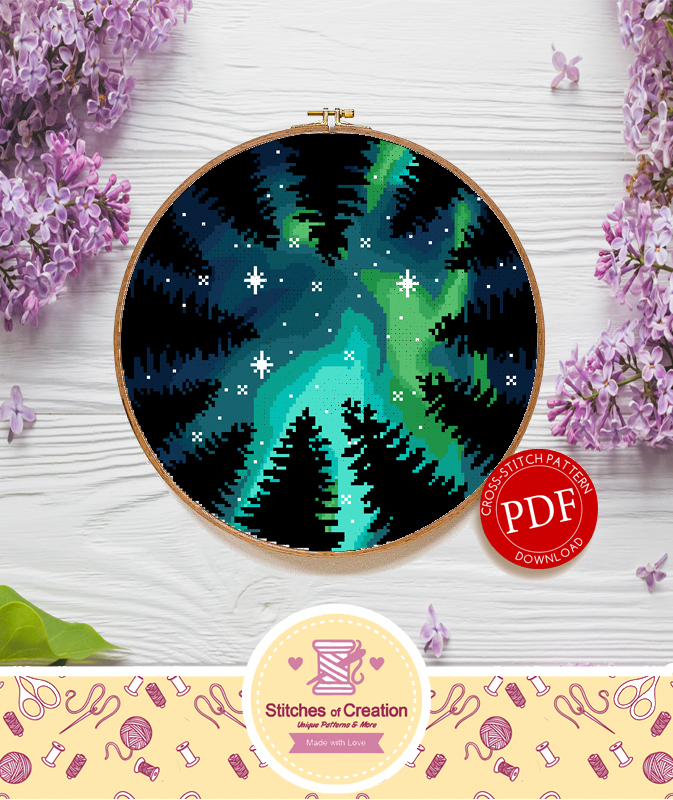 Aurora Forest Canopy | Digital Download | Round Cross Stitch Pattern |
