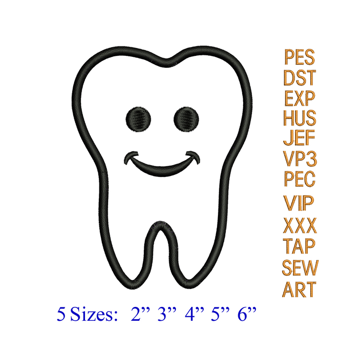 smiley Tooth Applique Embroidery Design,tooth embroidery pattern,Dentist Dental
