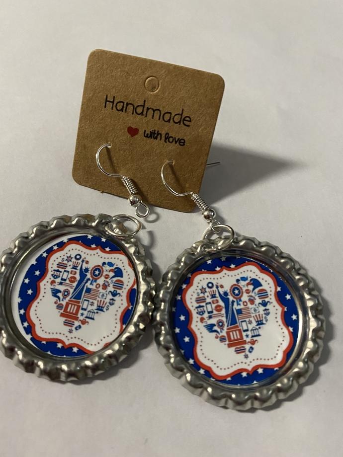 Patriotic dangle earrings