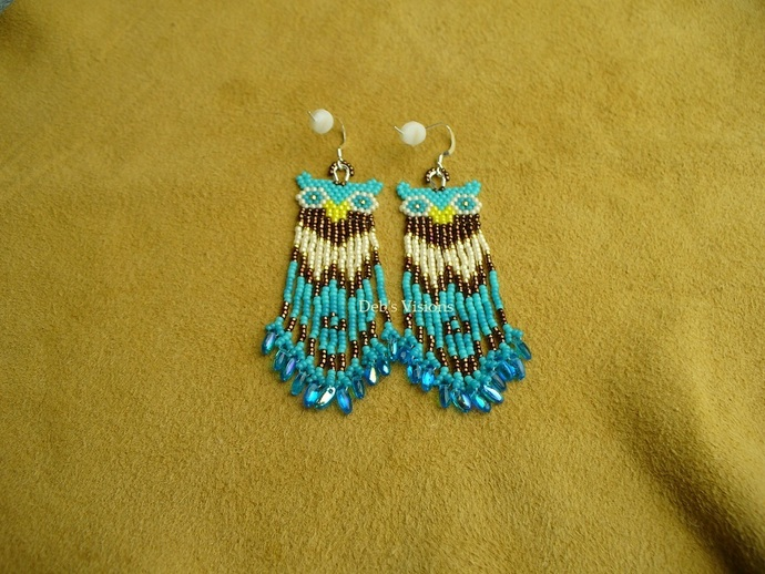 Native American Style Brick Stitched Owl Earrings in Blues,Copper and Cream