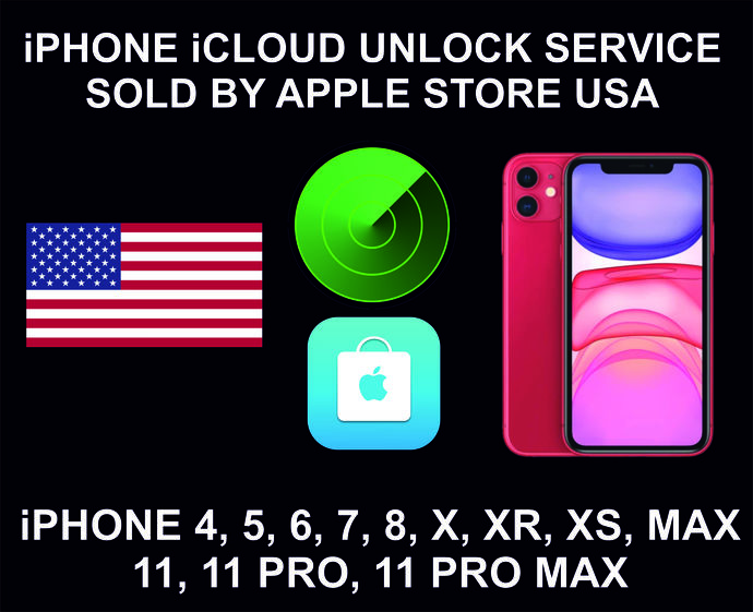 iCloud Unlock Service, Clean Status, USA, Apple Store, iPhone 4, 5, 6, 7, 8, X,