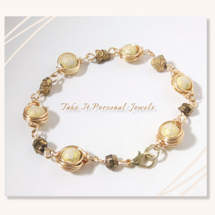 Wire Wrapped Gold Cream Bracelet