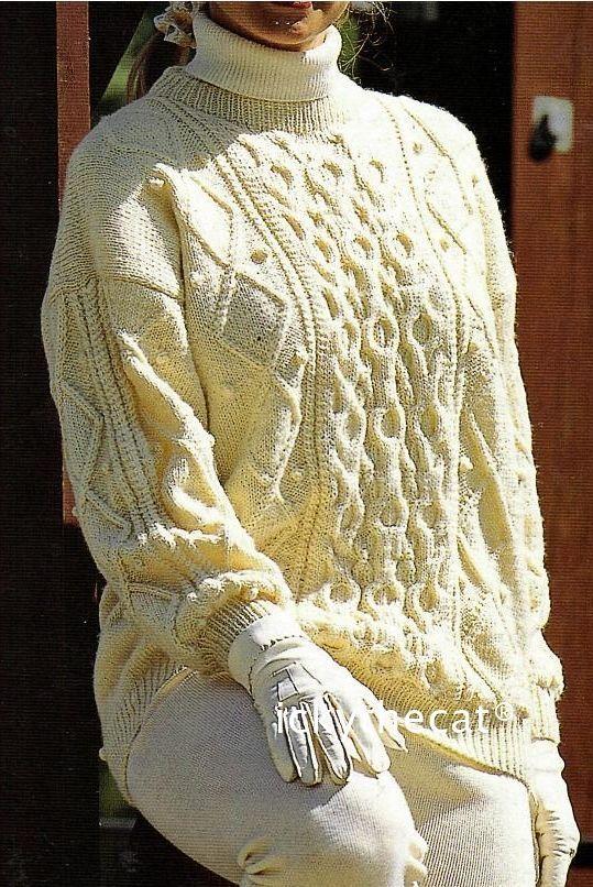 PDF Digital Download Vintage Knitting Pattern Ladies Womens Aran Long Cable