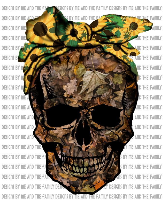 Camouflage Skull with sunflower scarf skull, girls wear Camo, Country Girls,