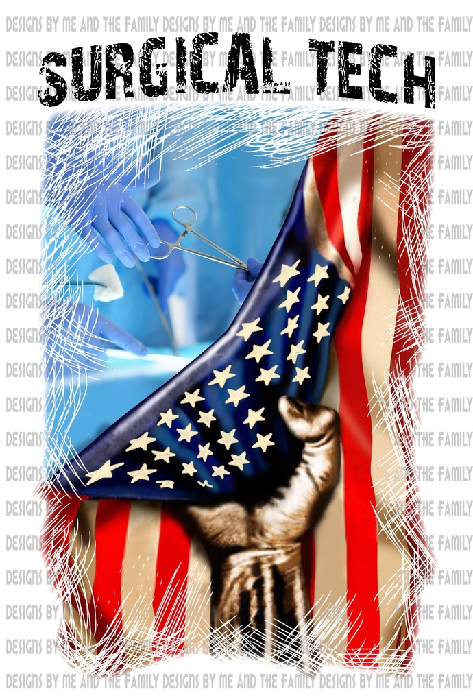 Surgical Tech, American Flag, Black text, 'Merica, peace love America, Peace