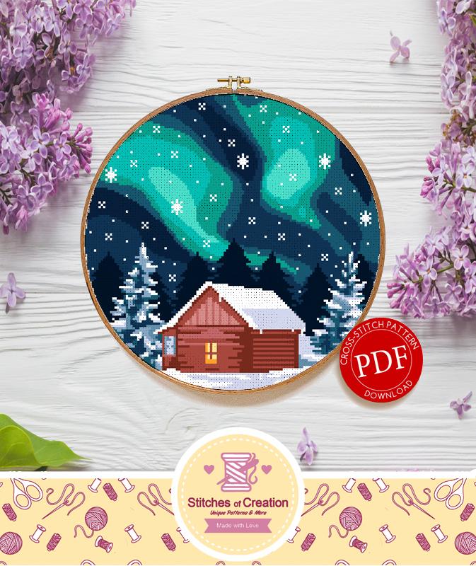 Aurora Winter Cabin | Digital Download | Round Cross Stitch Pattern |