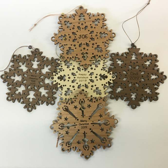 Personalized Snowflake Ornament Angels, Gingerbread Men, Cats, Dogs, or Dancers