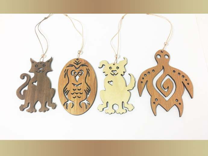 Sea Turtle, Cat, Dog, and Owl Ornaments for Christmas Tree, Holiday Decorating