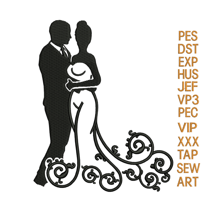 Wedding embroidery design,wedding embroidery pattern,couple embroidery
