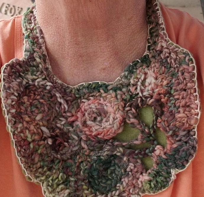 Hand Spun, Hand Dyed Wool Crocheted Bib Collar Neckpiece