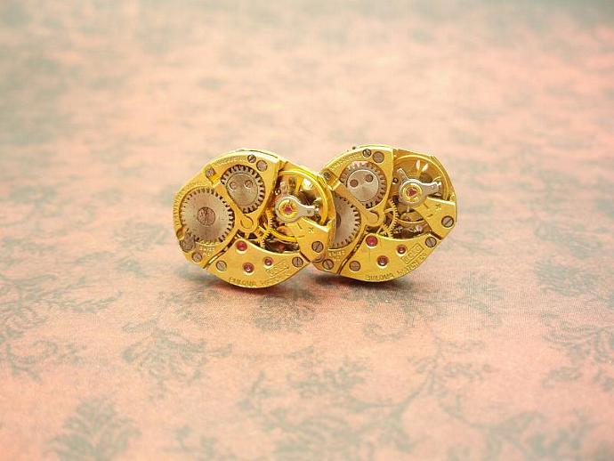 Gorgeous Bulova Gold Steampunk Cuff Links by TheSteamPu