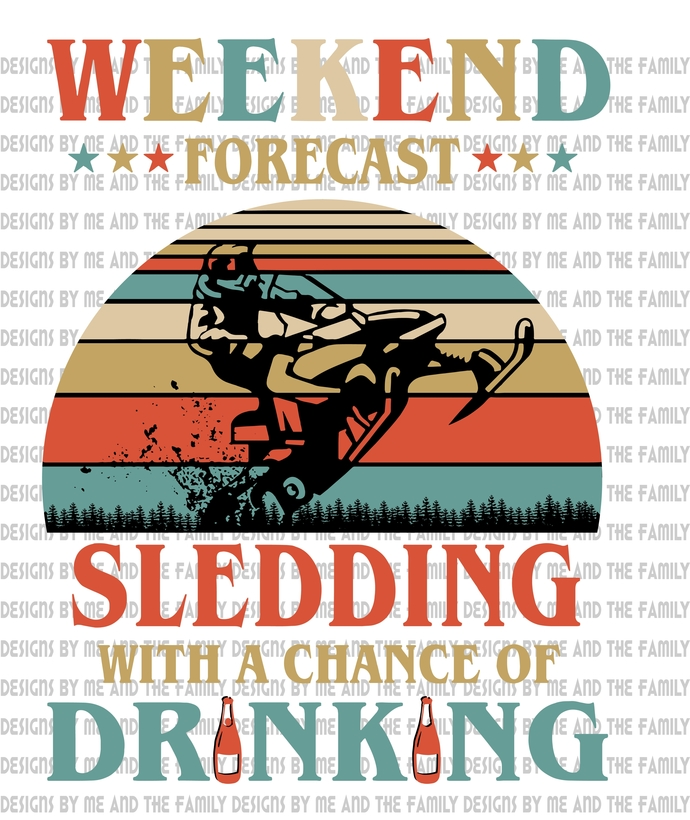 Weekend forecast sledding with a chance of drinking, black sled, Winter sports,