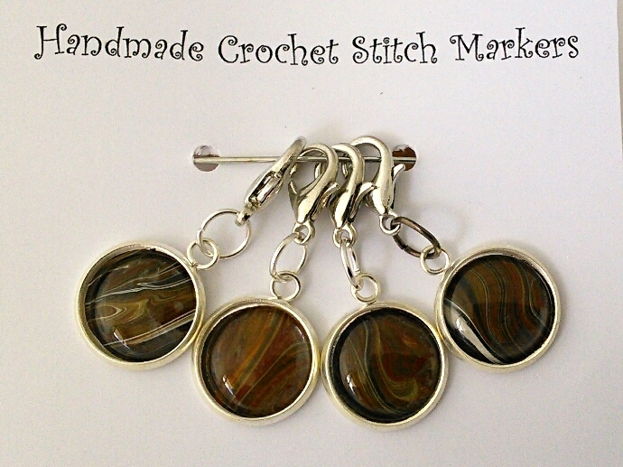 Crochet Stitch Markers - Brown Abstract Art - Set of 4