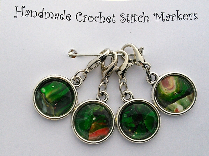 Crochet Stitch Markers - Green Abstract Art - Set of 4